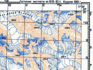 Reduced fragment of topographic map ru--gs--100k--j42-047--N039-00_E071-00--N038-40_E071-30; towns and cities Sangvor