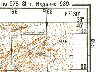 Reduced fragment of topographic map ru--gs--100k--j42-051--N038-40_E067-00--N038-20_E067-30
