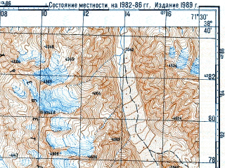 Reduced fragment of topographic map ru--gs--100k--j42-059--N038-40_E071-00--N038-20_E071-30; towns and cities Vanch