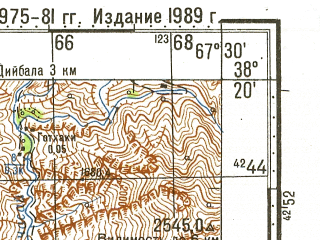 Reduced fragment of topographic map ru--gs--100k--j42-063--N038-20_E067-00--N038-00_E067-30; towns and cities Baysun