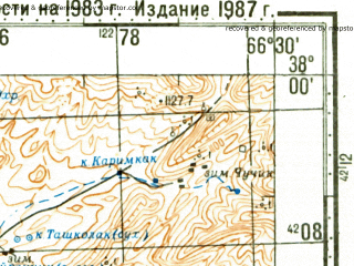 Reduced fragment of topographic map ru--gs--100k--j42-073--N038-00_E066-00--N037-40_E066-30; towns and cities Gaurdak, Svintsovyy Rudnik