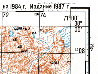 Reduced fragment of topographic map ru--gs--100k--j42-082--N038-00_E070-30--N037-40_E071-00