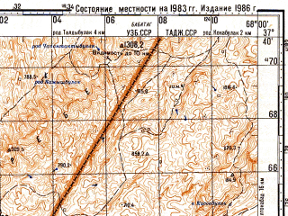 Reduced fragment of topographic map ru--gs--100k--j42-088--N037-40_E067-30--N037-20_E068-00