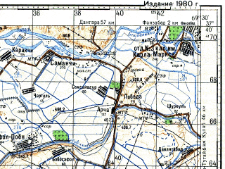 Reduced fragment of topographic map ru--gs--100k--j42-091--N037-40_E069-00--N037-20_E069-30; towns and cities Parkhar