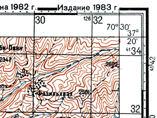 Reduced fragment of topographic map ru--gs--100k--j42-105--(1982)--N037-20_E070-00--N037-00_E070-30