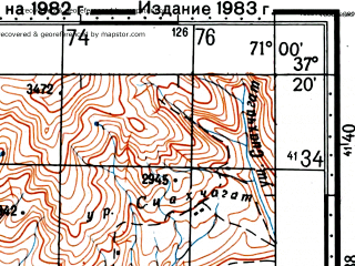Reduced fragment of topographic map ru--gs--100k--j42-106--(1982)--N037-20_E070-30--N037-00_E071-00