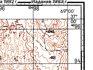 Reduced fragment of topographic map ru--gs--100k--j42-114--(1982)--N037-00_E068-30--N036-40_E069-00