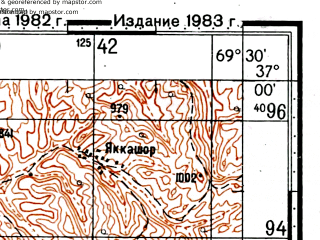 Reduced fragment of topographic map ru--gs--100k--j42-115--(1982)--N037-00_E069-00--N036-40_E069-30