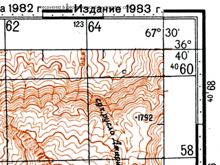 Reduced fragment of topographic map ru--gs--100k--j42-123--(1982)--N036-40_E067-00--N036-20_E067-30; towns and cities Jan Bulaq