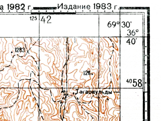 Reduced fragment of topographic map ru--gs--100k--j42-127--(1982)--N036-40_E069-00--N036-20_E069-30