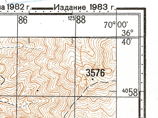 Reduced fragment of topographic map ru--gs--100k--j42-128--N036-40_E069-30--N036-20_E070-00