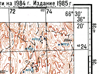 Reduced fragment of topographic map ru--gs--100k--j42-133--(1984)--N036-20_E066-00--N036-00_E066-30