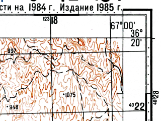 Reduced fragment of topographic map ru--gs--100k--j42-134--(1984)--N036-20_E066-30--N036-00_E067-00