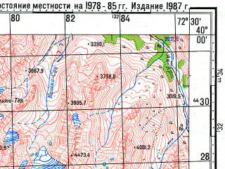 Reduced fragment of topographic map ru--gs--100k--j43-001--N040-00_E072-00--N039-40_E072-30