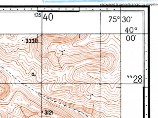 Reduced fragment of topographic map ru--gs--100k--j43-007--(1969)--N040-00_E075-00--N039-40_E075-30
