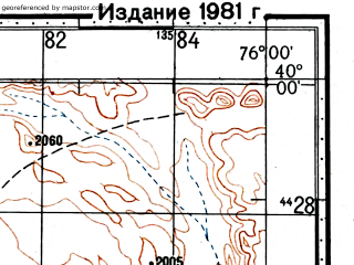 Reduced fragment of topographic map ru--gs--100k--j43-008--(1977)--N040-00_E075-30--N039-40_E076-00; towns and cities Tishik Tash
