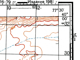 Reduced fragment of topographic map ru--gs--100k--j43-011--(1976)--N040-00_E077-00--N039-40_E077-30