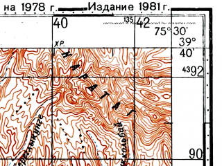 Reduced fragment of topographic map ru--gs--100k--j43-019--(1978)--N039-40_E075-00--N039-20_E075-30