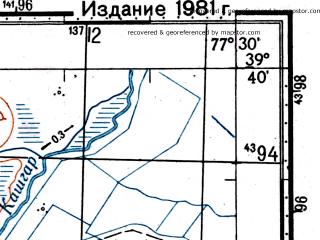 Reduced fragment of topographic map ru--gs--100k--j43-023--(1976)--N039-40_E077-00--N039-20_E077-30
