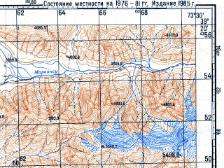 Reduced fragment of topographic map ru--gs--100k--j43-027--N039-20_E073-00--N039-00_E073-30; towns and cities Markansu