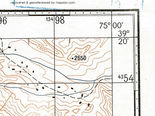 Reduced fragment of topographic map ru--gs--100k--j43-030--N039-20_E074-30--N039-00_E075-00