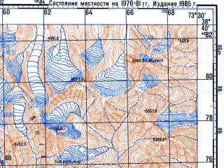 Reduced fragment of topographic map ru--gs--100k--j43-051--N038-40_E073-00--N038-20_E073-30