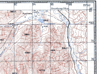 Reduced fragment of topographic map ru--gs--100k--j43-054--N038-40_E074-30--N038-20_E075-00