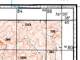 Reduced fragment of topographic map ru--gs--100k--j43-056--(1969)--N038-40_E075-30--N038-20_E076-00