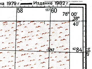 Reduced fragment of topographic map ru--gs--100k--j43-060--(1979)--N038-40_E077-30--N038-20_E078-00