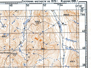 Reduced fragment of topographic map ru--gs--100k--j43-065--N038-20_E074-00--N038-00_E074-30