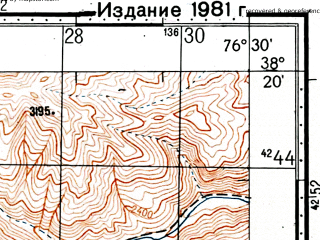 Reduced fragment of topographic map ru--gs--100k--j43-069--(1976)--N038-20_E076-00--N038-00_E076-30; towns and cities I-cha-ko