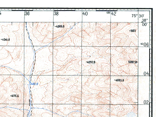 Reduced fragment of topographic map ru--gs--100k--j43-079--N038-00_E075-00--N037-40_E075-30; towns and cities Shen-ti