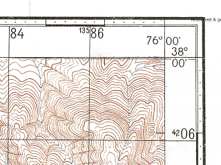 Reduced fragment of topographic map ru--gs--100k--j43-080--N038-00_E075-30--N037-40_E076-00