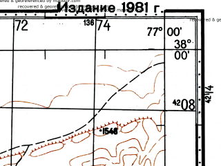 Reduced fragment of topographic map ru--gs--100k--j43-082--(1976)--N038-00_E076-30--N037-40_E077-00