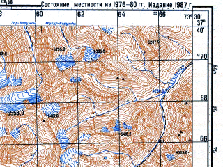 Reduced fragment of topographic map ru--gs--100k--j43-087--N037-40_E073-00--N037-20_E073-30; towns and cities Khargush