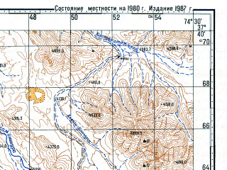 Reduced fragment of topographic map ru--gs--100k--j43-089--N037-40_E074-00--N037-20_E074-30; towns and cities Dzhartygumbez