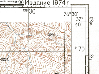 Reduced fragment of topographic map ru--gs--100k--j43-093--N037-40_E076-00--N037-20_E076-30