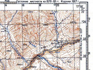 Reduced fragment of topographic map ru--gs--100k--j43-098--N037-20_E072-30--N037-00_E073-00