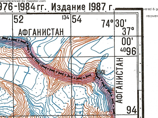 Reduced fragment of topographic map ru--gs--100k--j43-113--N037-00_E074-00--N036-40_E074-30; towns and cities Buattar