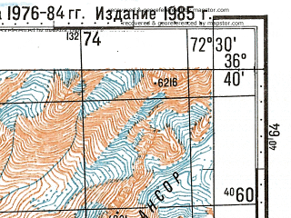 Reduced fragment of topographic map ru--gs--100k--j43-121--N036-40_E072-00--N036-20_E072-30