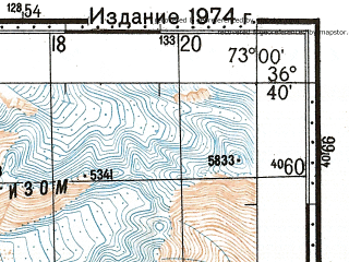 Reduced fragment of topographic map ru--gs--100k--j43-122--N036-40_E072-30--N036-20_E073-00; towns and cities Brep, Morich