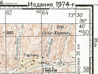 Reduced fragment of topographic map ru--gs--100k--j43-123--N036-40_E073-00--N036-20_E073-30