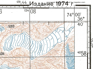 Reduced fragment of topographic map ru--gs--100k--j43-124--N036-40_E073-30--N036-20_E074-00; towns and cities Chatorkhand, Munjawa