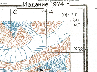Reduced fragment of topographic map ru--gs--100k--j43-125--N036-40_E074-00--N036-20_E074-30