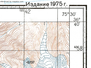 Reduced fragment of topographic map ru--gs--100k--j43-127--N036-40_E075-00--N036-20_E075-30
