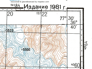 Reduced fragment of topographic map ru--gs--100k--j43-131--N036-40_E077-00--N036-20_E077-30