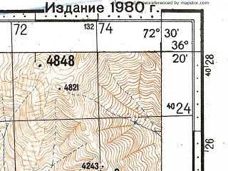 Reduced fragment of topographic map ru--gs--100k--j43-133--N036-20_E072-00--N036-00_E072-30; towns and cities Lon, Maroi