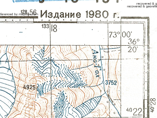 Reduced fragment of topographic map ru--gs--100k--j43-134--N036-20_E072-30--N036-00_E073-00; towns and cities Handrap