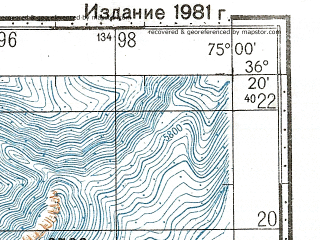 Reduced fragment of topographic map ru--gs--100k--j43-138--N036-20_E074-30--N036-00_E075-00