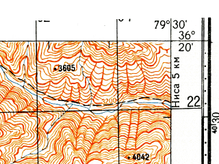 Reduced fragment of topographic map ru--gs--100k--j44-135--N036-20_E079-00--N036-00_E079-30